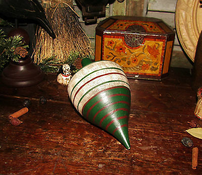 Primitive Antique Vtg Turned Carved Wooden Spinning Top Childs Hand Painted Toy