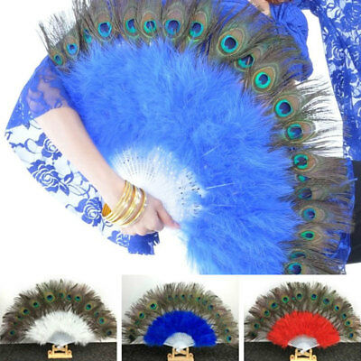 Vintage Peacock Multi-Color Feather Holding Hand Fan Costume Party Dance