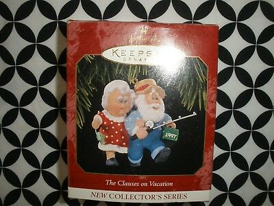 "1997~Christmas! Hallmark Ornament ""the Clauses On Vacation"" Nib ~N21"