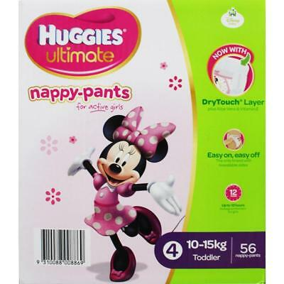 HUGGIES PK56 ULTIMATE NAPPY-PANTS TODDLER FOR GIRLS 10-15kg 100% Brand New