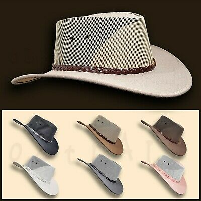 ● SALE Jacaru HAT Pu-Suede Leather Mesh Mens Cowboy Golf Australian Outback Bush