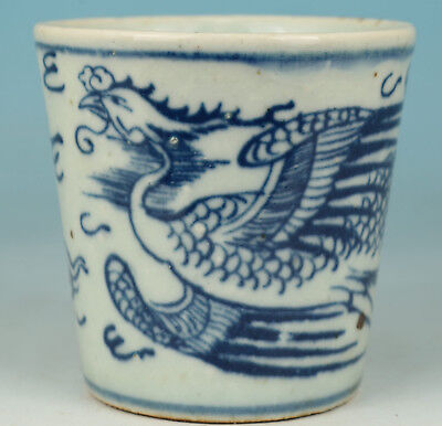Chinese Porcelain Collection Handmade Painting Phoenix Statue Tea Cup Bowl