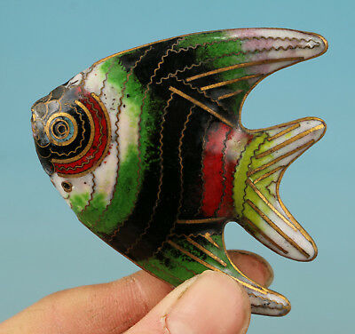 Chinese Old Cloisonne Collection Handmade Carved Fish Statue