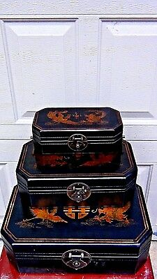 Set Of 3 Nesting Antique(1920)Chinese Lacquered Dragon&phoenix Storage Boxes