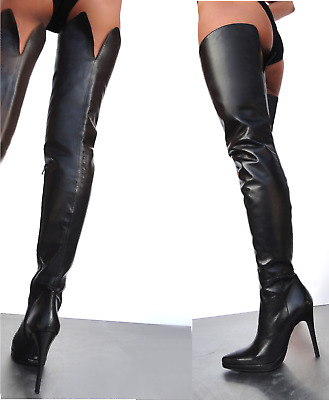 d4bb94f88a842e Giohel Italy Platform Overknee Schuhe Boots Stiefel Leather Black Schwarz 38