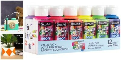 12 Paint Set 2oz Decoart Crafters Acrylic Colours Art Craft Water Based Gift DIY