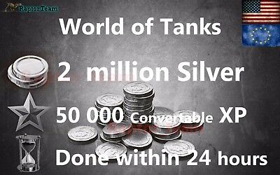 World of Tanks 2 mln silver & 50 000 XP/ 24 hours! WOT (Not Bonus Code)
