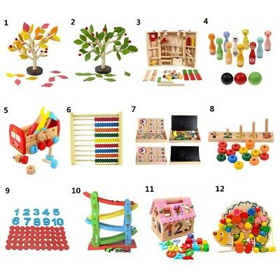 Wooden Montessori Educational Toys Learn Math Letters Logic Puzzles Racing Games