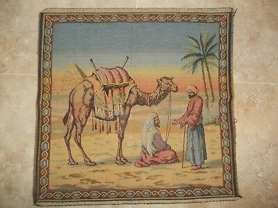"""2 ANTIQUE Woven TAPESTRY Wall Hangings MIDDLE EASTERN VILLAGE SCENE 19"""" Sq"""