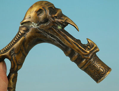 Chinese Bronze Collection Handmade Carved Evil Person Statue Walking Stick Head