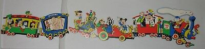 Vintage Disney Mickey Mouse nursery wall cut out decor 3 pc train -complete NICE