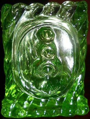 Green Vaseline glass square Train Engine toothpick holder uranium Canary yellow