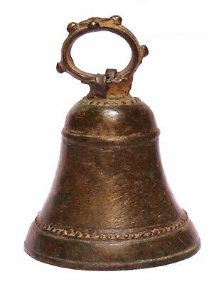 Indian Old Vintage Hand Carved Unique Brass Cow Ox Bell Collectible BR 376