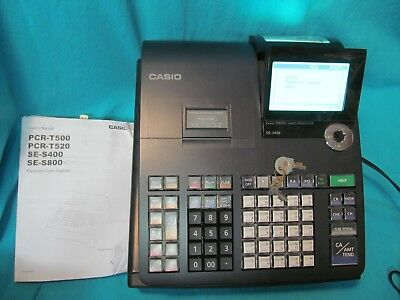 Casio Se-S800 Electronic Cash Register With Manual And Keys