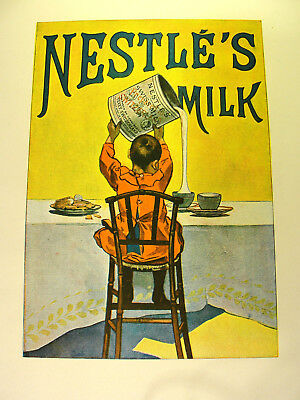 Antique 1900 Nestle's Milk Advertisement Print from The Poster Issue w/ Article