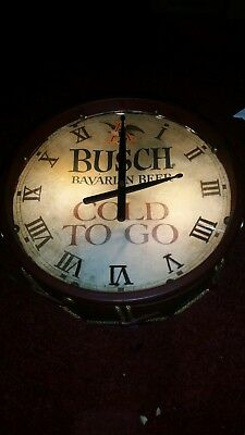 Vintage Anheuser Busch Beer Bavarian Drum Clock Lights up & Clock is Working