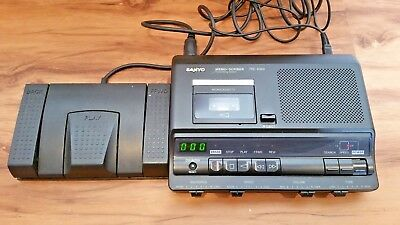 Sanyo TRC-6040 Memo Scriber MicroCassette Dictation w Foot Pedal