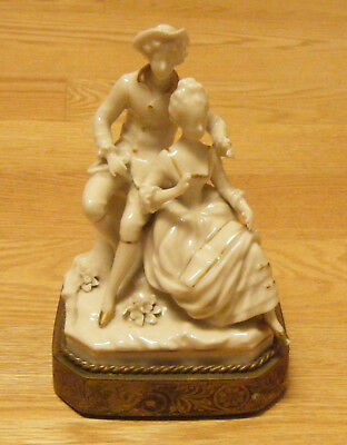 Antique DRESDEN WHITE PORCELAIN VICTORIAN FIGURINE TABLE LAMP BASE GILT STAND