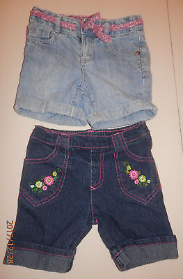 lot of 2 used denim jean shorts for 3T & 4T girls
