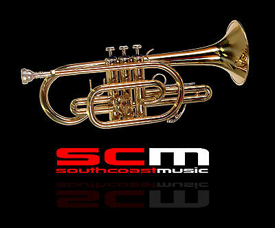 NEW FONTAINE Bb CORNET GOLD LACQUER FINISH + CARRY CASE 2YR WARRANTY FREE P+H
