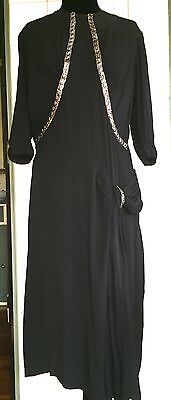 Vintage 1930s 30s Art Deco Silver Metal Trim Black Rayon Dress