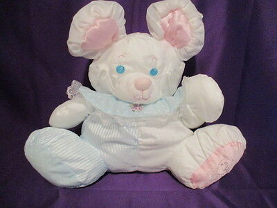 """Vintage 1988 Fisher Price Puffalump Mouse w/Rattle 10"""" Pink Blue White  fp logo"""