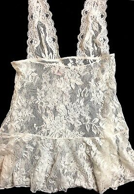 Victoria's Secret Off-White Lace Nightie Baby Doll Cami Halter Cover-Up NEW XS