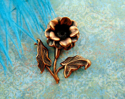 ANTIQUE COPPER 3-D Floral Spray Rivet Flower Stamping Setting Oxidized (FA-6101)