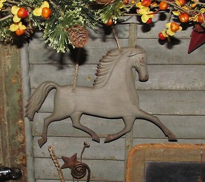 Primitive Antique Vtg Style FARMHOUSE HORSE Embossed Hanging Metal Tin Sign