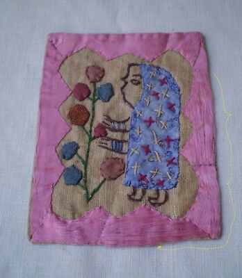 Primitive Hand Stitched Embroidered Child's Miniature Sampler-1800's