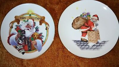 Set of 2--CHRISTMAS PLATES WITH GOLD EDGE--8 1/2 INCH DIAMETER