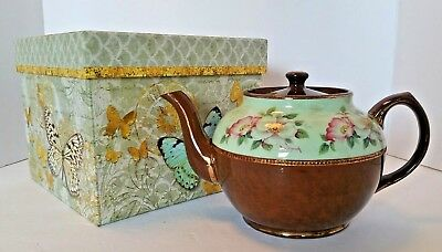 Sadler Staffordshire England Brown and Floral Teapot, Butterfly Gift Box #2696