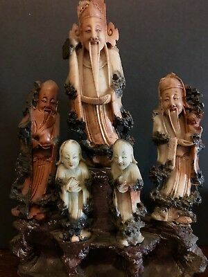 Antique Signed CHINESE Carved Soapstone (6) Figures STATUE Immortals ORIENTAL