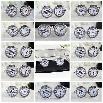 Clock Face Personalised Wedding Date & Time Cufflinks Groomsman Page Boy Usher
