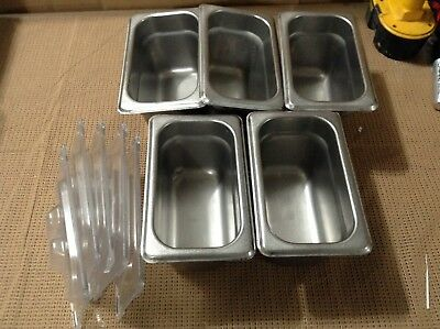 Lot of 5 - Steam Table Pans with Plastic Lids