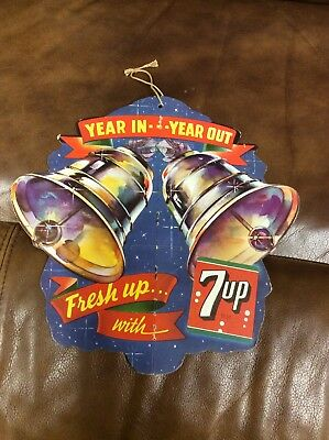 Vintage 7up Soda Cardboard Sign Year In Year Out Fresh Up With 7UP Old Bells