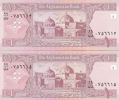 2 notes AFGHANISTAN 1 AFGHANI  2002  Unc , Running Numbers