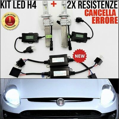 KIT FIAT PUNTO EVO 2x LAMPADE LED H4 + 2x CENTRALINE AGGIUNTIVE CANBUS 6500K NEW