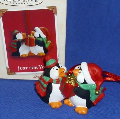 Hallmark Club Exclusive Ornament Just for You 2003 Penguins with Present NIB