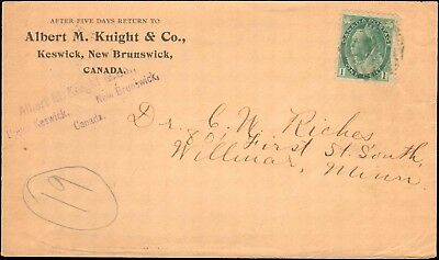 1903 Canada Single Queen ( Keswick N.b. ) To United States