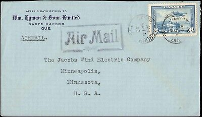 1939 Canada ( Cape Harbor ) Single Air Airmail To United States