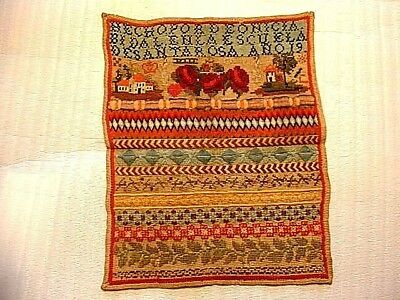 Antique 19thC Needlepoint Sampler With House & Rose Motifs