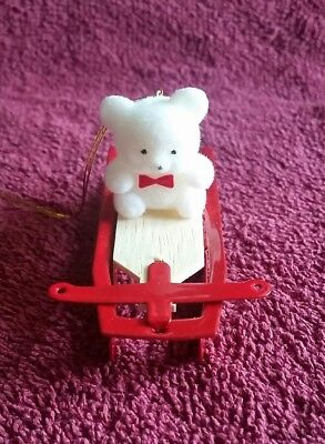"Avon Gift Collection ""Teddy On Sled"" Christmas Ornament."