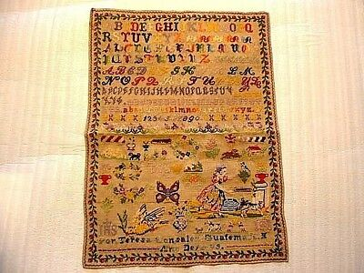 Large Wonderful 19ThC Needlepoint Sampler Dated 1889 Teresa Gonzalez Guatemala
