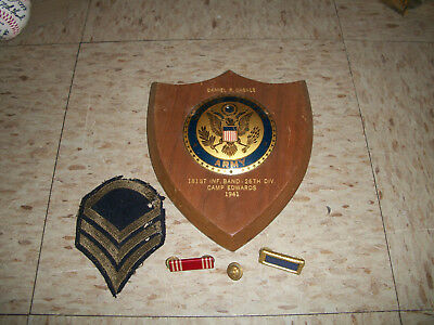 WW2 US ARMY 181st 26th Infantry Division Plaque and ribbons Camp Edwards MA 1941