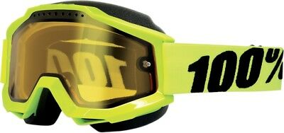 100% Accuri Snow Goggles Fluorescent Yellow w/Yellow Lens 50203-004-02