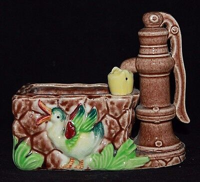 VINTAGE Glazed Ceramic Water Pump / Well with Duck, Planter Bowl, JAPAN