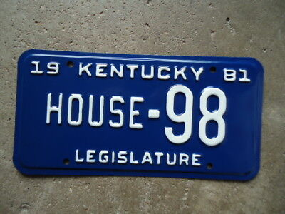 "1981 Kentucky ""House"" Legislature license plate"