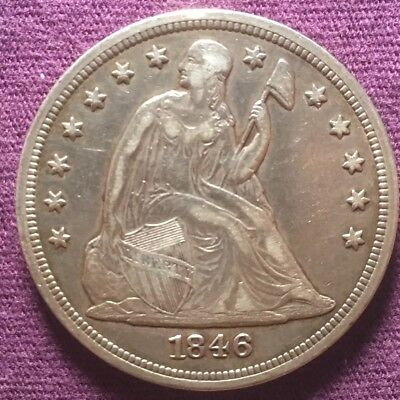 Us 1846 One (1) Dollar Silver Coin, Great Condition. Handsome Substantial Piece!