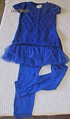 Justice (14) 2pc BLUE KNIT LEGGINGS SHORT SLEEVE SEQUINED & TULLE SWEATER TUNIC